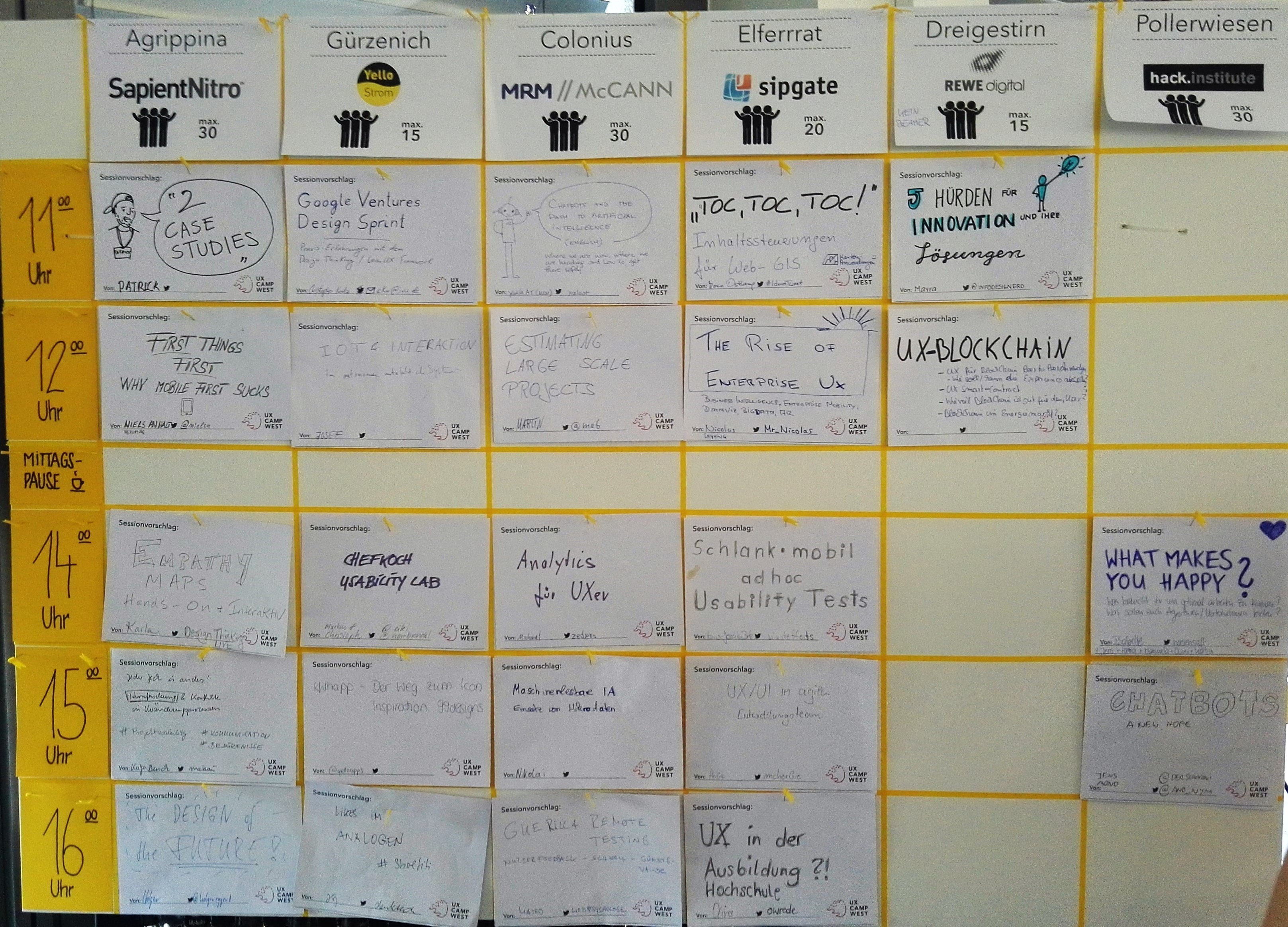 UX Camp West 2016 - Session Board